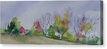 Canvas Print featuring the painting Autumn In Rural Ohio by Mary Haley-Rocks