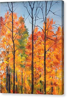 Canvas Print featuring the painting Autumn In South Wales Ny by Ellen Canfield