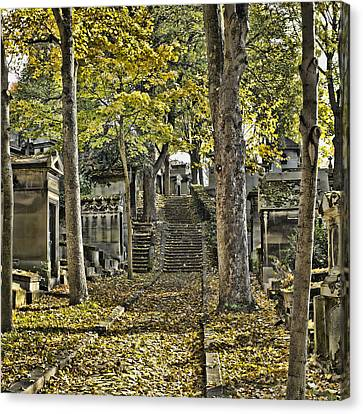 Edith Piaf Canvas Print - Autumn In The Cemeterie Pere Du La Chaise by Hugh Smith