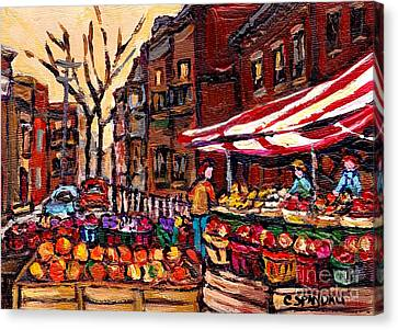 Autumn In The City Outdoor Market Small Format Paintings For Sale Best Montreal Art Carole Spandau Canvas Print by Carole Spandau