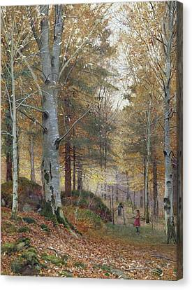 Autumn In The Woods Canvas Print by James Thomas Watts