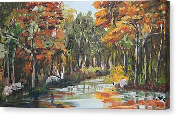 Autumn In The Woods Canvas Print by Mabel Moyano
