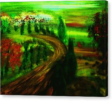 Canvas Print featuring the painting Autumn In Tuscany by Evelina Popilian