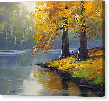 Fall Leaves Canvas Print - Autumn Lake Print by Graham Gercken