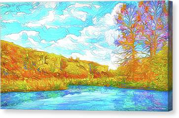 Autumn Lake Reflections - Park In Boulder County Colorado Canvas Print by Joel Bruce Wallach