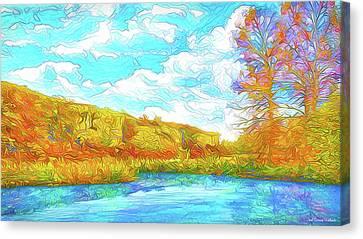 Autumn Lake Reflections - Park In Boulder County Colorado Canvas Print