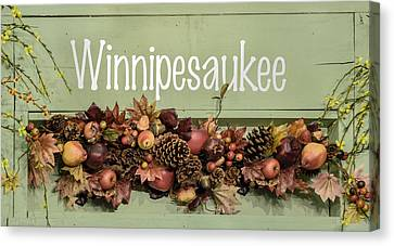 Autumn Lake Winnipesaukee Sign Fall Canvas Print by Betty Denise