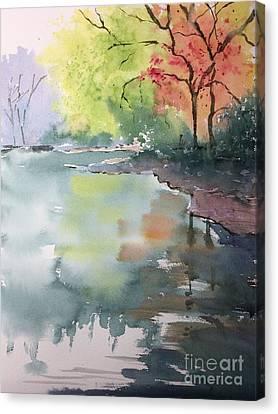 Autumn Lake Canvas Print by Yohana Knobloch