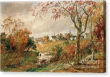 Rivers In The Fall Canvas Print - Autumn Landscape by Jasper Francis Cropsey