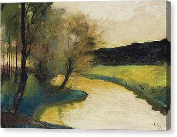 Autumn Landscape Of Brook In The Evening Light Canvas Print