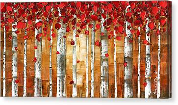 Brown Red Birch Aspen Landscape Art Canvas Print