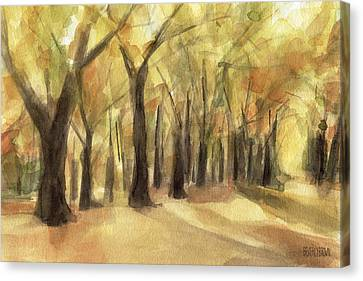 Autumn Leaves Central Park Canvas Print by Beverly Brown