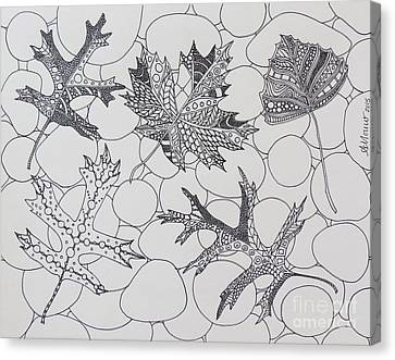 Autumn Leaves In Black And White Canvas Print