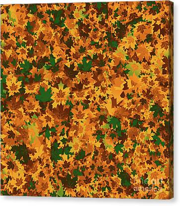 Autumn Leaves Pattern Canvas Print by Methune Hively