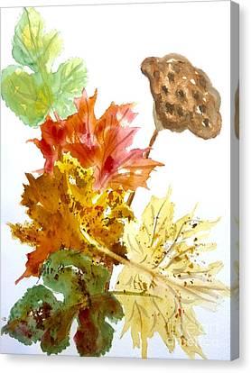 Autumn Leaves Still Life Canvas Print