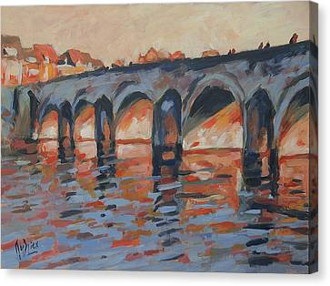 Autumn Light Through The Saint Servaas Bridge Maastricht Canvas Print