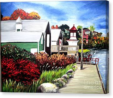 Canvas Print featuring the painting Autumn Lighthouse Miramichi New Brunswick Canada by Patricia L Davidson