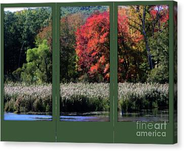 Canvas Print featuring the photograph Autumn Marsh Through A Window by Smilin Eyes  Treasures