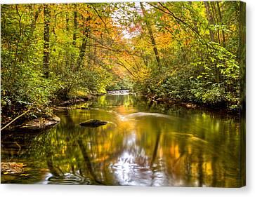 Autumn Mirror Canvas Print by Debra and Dave Vanderlaan