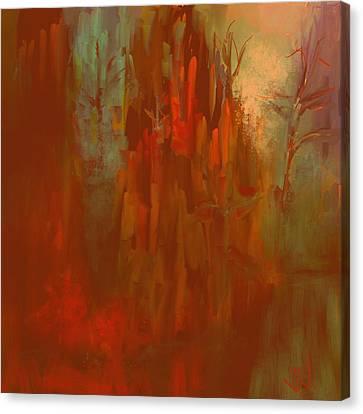Canvas Print featuring the digital art Autumn Mist by Jim Vance