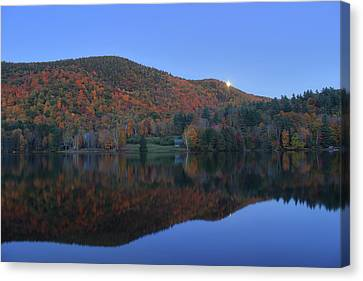 Autumn Moonrise In The Green Mountains Canvas Print by John Burk