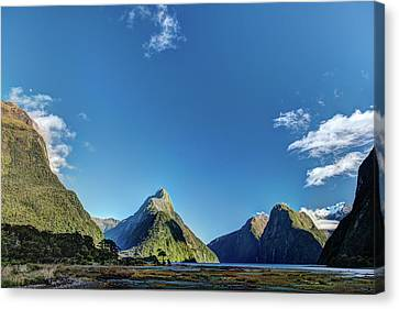 Canvas Print featuring the photograph Autumn Morning Milford Sound by Gary Eason