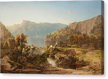 Autumn Morning On The Potomac Canvas Print by William Sonntag