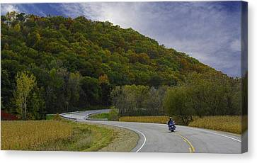 Autumn Motorcycle Rider / Blue Canvas Print by Patti Deters