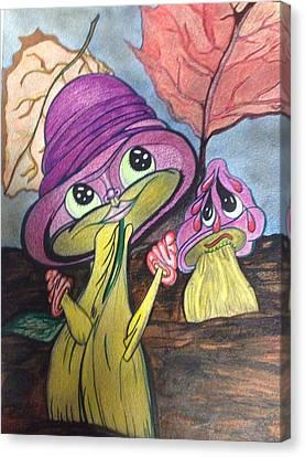 Autumn Mushrooms  Canvas Print by Alicia Schroeder