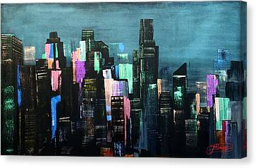 Autumn Nights And City Lights Canvas Print