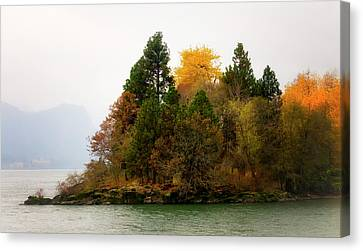 Autumn On The Columbia Canvas Print by Albert Seger