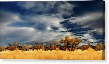Canvas Print featuring the painting Autumn On The Edge Of The Great Plains  by David Dehner