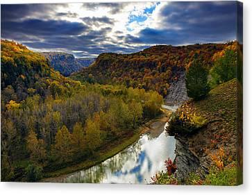 Autumn On The Genesee Canvas Print by Rick Berk
