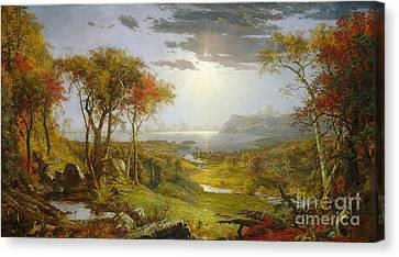 Cropsey Canvas Print - Autumn On The Hudson River by MotionAge Designs