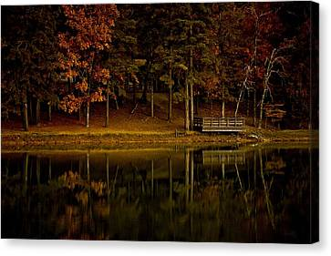 Autumn On The Lake Canvas Print by Linda Unger