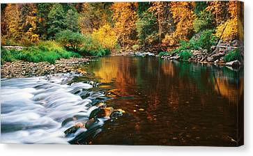 Autumn On The Merced River Yosemite Np Canvas Print by Edward Mendes