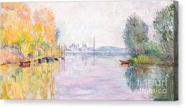 Autumn On The Seine At Argenteuil After Claude Monet By Marilyn Nolan-johnson Canvas Print by Marilyn Nolan-Johnson