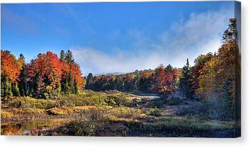 Canvas Print featuring the photograph Autumn Panorama At The Green Bridge by David Patterson
