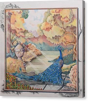 Autumn Peacock Canvas Print by Joyce Hutchinson