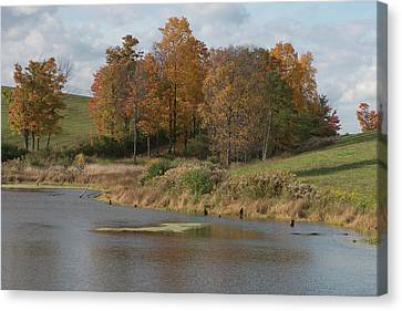 Canvas Print featuring the photograph Autumn Pond by Joshua House
