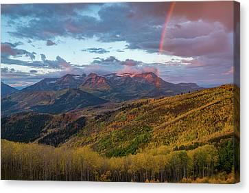 Autumn Rainbow Over Mount Timpanogos Canvas Print by James Udall