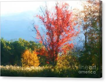 Autumn Red And Yellow Canvas Print by Smilin Eyes  Treasures