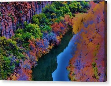 Verde River Canvas Print - Autumn Reflection by Helen Carson