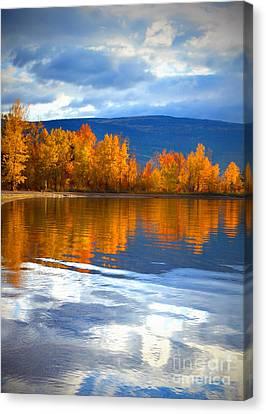 Autumn Reflections At Sunoka Canvas Print by Tara Turner