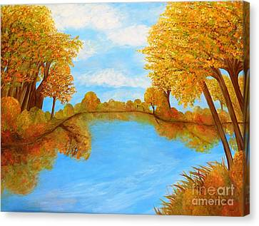 Impressionist Canvas Print - Autumn Reflections by Eloise Schneider
