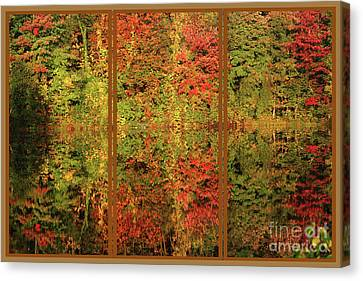 Canvas Print featuring the photograph Autumn Reflections In A Window by Smilin Eyes  Treasures