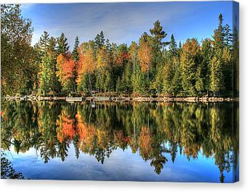 Autumn Reflections Of Maine Canvas Print by Shelley Neff