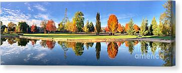 Autumn Reflections Panorama Canvas Print by Sean Griffin