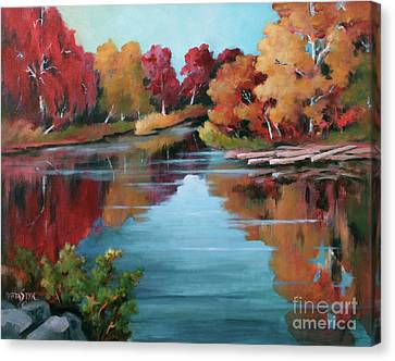 Canvas Print featuring the painting Autumn Reflexions 1 by Marta Styk