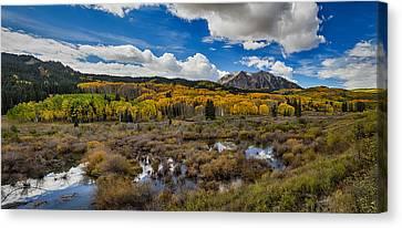 Autumn Season Rocky Mountain Pass Panorama Canvas Print